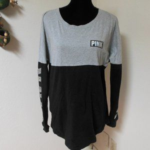 VS Pink Black and Grey Longs Sleeve Sequin Shirt M